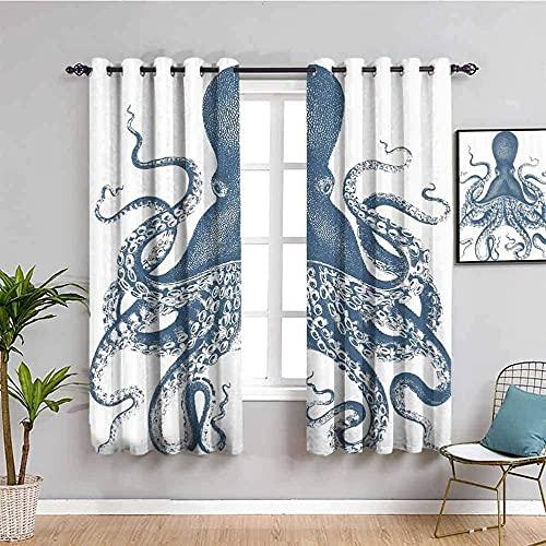 LTHCELE Opacas Cortinas Dormitorio - Azul Pulpo Animal mar - Impresión 3D Aislantes de Frío y Calor 90% Opacas Cortinas - 183 x 160 cm - Salon Cocina Habitacion Niño Moderna Decorativa
