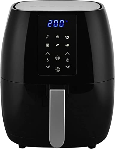1500-Watt 5.8-QT 6-in-1 Digital Air Fryer with Recipe Book and Grill Shelf, LCD Digital Touch Screen Easy to Control, 5.8QT Large Cooking Non-Stick Pan fit for 4 People for Home Kitchen Dinning Camp