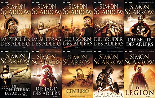 Die Rom-Serie Band 1-10 von Simon Scarrow + 1 exklusives Postkartenset (Historisch)