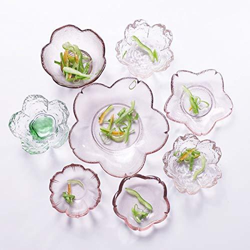 8pcs Sakura Shaped Glass Seasoning Dishes/Tea Bag Holders/Ketchup Saucer/Appetizer Plates/Salad Bowls (Color : A)