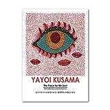Kusama Yayoi Poster Canvas Cuadros Abstract Eye Red Lip Dot Art Poster Artista JaponéS Cuadros Famosa Obra De Arte ExposicióN Decoracion para Sala De Estar
