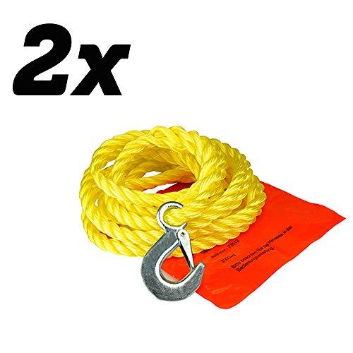 2X UNITEC 73512 POLYPROP-ABSCHLEPPSEIL 2000 kg 1 Haken + Schlaufe