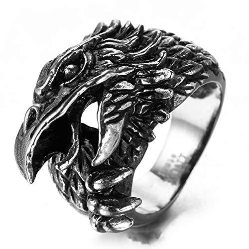 Serired Anillo Dedo Acero Inoxidable 316L Viking Odin Raven, Joyería Amuleto Locomotora Gótica Mitología Nórdica para Hombres/Mujeres con Cajas de Regalo,13