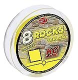 WFT 8 Rocks KG Line 150m 0,18mm 17kg, geflochtene Schnur, Meeresschnur, Angelschnur, Geflechtschnur, Farbe:Gelb
