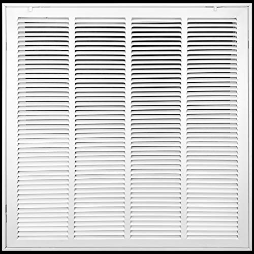 20' X 20' Steel Return Air Filter Grille [Removable Face Door] for 1-inch Filters HVAC Duct Cover Grill, White | Outer Dimensions: 22 5/8'W X 22 5/8'H for 20x20 Duct Opening