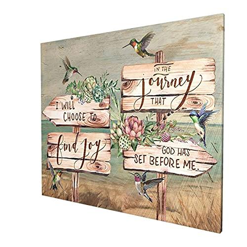 Pintura inspiradora para pared de colibrí de flores, para decoración del hogar, para sala de estar, comedor, dormitorio, cocina, baño, oficina, 60 x 90 cm, sin marco