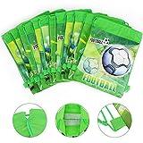 Qpout Fußball Taschen 12 STÜCKE Kordelzug Fußball Rucksack Kindergeburtstag Gastgeschenke Liefert Goodie Taschen für Kinder Mädchen Jungen Kleinkinder - 4