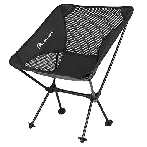 Moon Lence アウトドア チェア キャンプ 椅子 折りたたみ アルミ合金&オックスフォード コンパクト 超軽量 収納バッグ ハイキング 耐荷重150kg ブラック