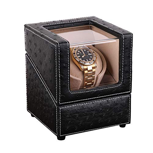 XNDCYX Single Watch Winder with Quiet Motor Automatic Watch Winder Box 4 Rotation Mode Setting, Flexible Plush Pillow Fit Lady and Man Watches, AC/Battery Powered