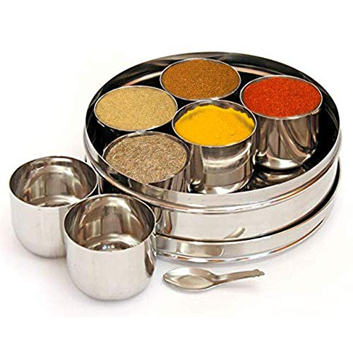 Stainless Steel Masala Dabba Spice BoxSpice Containers Masala Dabba 7 Compartments Indian Spice Box Kitchen Spice Box Spice Box Masala Dabba - masala boxSpice Storage Containers Storage Masala