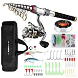 mouhike Fishing Rod Reel Combo Full Kit Telescopic Fishing Pole Set Spinning Reel Line Lures Hooks and Fishing Carrier Bag Saltwater Freshwater Fishing Gear for Kids Adults Professional (1.8M/5.9FT)