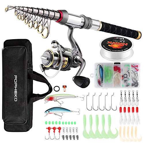 mouhike Fishing Rod Reel Combo Full Kit Telescopic Fishing Pole Set Spinning Reel Line Lures Hooks and Fishing Carrier Bag Saltwater Freshwater Fishing Gear for Kids Adults Professional (2.4M/7.87FT)
