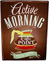 アクティブモーニングコーヒーポイントティンサインヴィンテージファニークリーチャーアイアンペインティングメタルプレートパーソナリティノベルティ