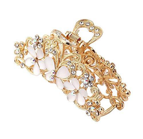 Haarspange für Damen, Retro-Stil, hohl, Blume, elegant, Metall, Strass, Haarnadel (Gold)