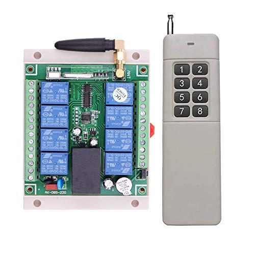 AC 220 V 250 V 8 CH mando a distancia Interruptor de iluminación 8 canales 5 A Relé 220 V Receptor Nivel Industrial 500 M Emisor / Mando a distancia para instalaciones industriales Control inalámbrico