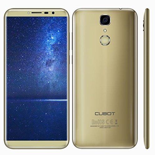 CUBOT X18-5,7 Zoll Bildschirm (18: 9 Seitenverhältnis) Ultra-Slim Android 7.0 4G Smartphone, 13MP + 16MP Dual Kamera, Quad Core 3GB RAM 32GB ROM, Fingerabdruck 3200mAh - Gold