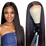 Straight Human Hair Lace Front Wigs Brazilian Virgin Hair Lace Closure Wigs for Black Women 150% Density Pre Plucked with Baby Hair Natural Hairline Wigs (18 inch, straight wig)