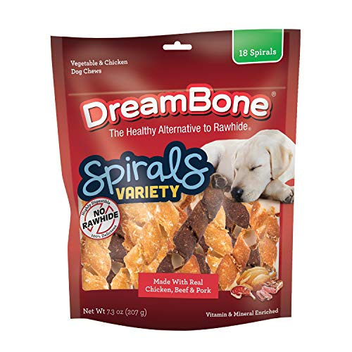 DreamBone Spirals Variety Pack, No-Rawhide Chews for Dogs, 18 Spiral, 18-Count (DBS-00345)
