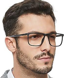 OCCI CHIARI Men Fashion Rectangle Blue Light Blocking Eyewear Frame With Non-Prescription Clear Lens