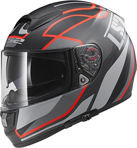 Casco integral de color rojo y negro