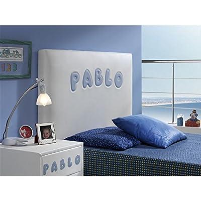 Cabecero Bordado con volumen y Tapizado Modelo PERSONALIZADO 100 Color Blanco Para cama de 90 Polipiel premium IGNIFUGA