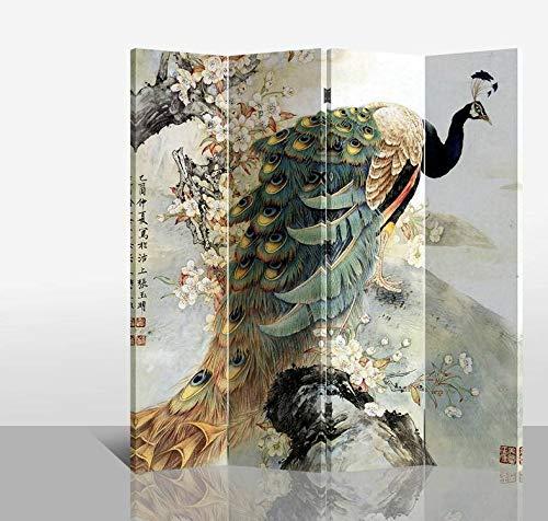 Fine Asianliving Paravent Raumteiler Trennwand Spanische Wand Raumtrenner Sichtschutz Japanisch Orientalisch Chinesisch L160xH180cm Bedruckte Canvas Leinwand Doppelseitig Asiatisch -203-140