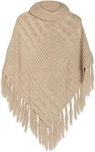 styleBREAKER warm gebreide poncho met sjaalkraag en franjes, coltrui en vlechtpatroon, dames 08010016