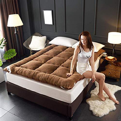 Anzkzo Warm Coral Futon Mattress Thicken Quilting Soft Floor mat Student Dormitory Sleeping Tatami mattress Folding Single Double-120x200cm(47x79inch) B.