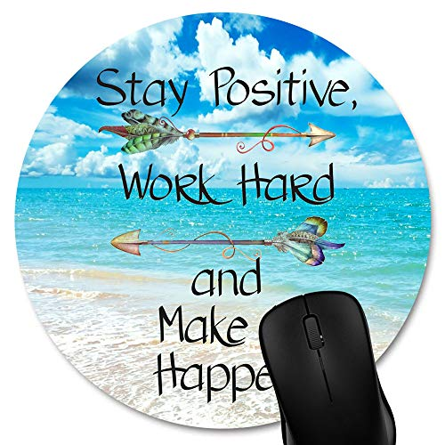 Knseva Stay Positive Work Hard Make It Happen Arrow Print Inspirational Quote Circular Mouse Pads, Motivational Quotes Sunny Day Navy Blue Ocean Beach Scene Round Mouse Pad