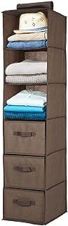 mDesign étagère suspendue avec 3 compartiments et 3 tiroirs – rangement à suspendre en tissus fibre synthétique – meuble d...