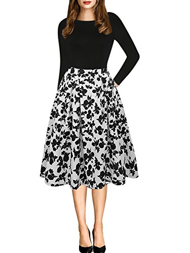 oxiuly Women's Vintage Long Sleeve Casual Patchwork Pockets Party Swing Dress OX165 (L, Black White Long)