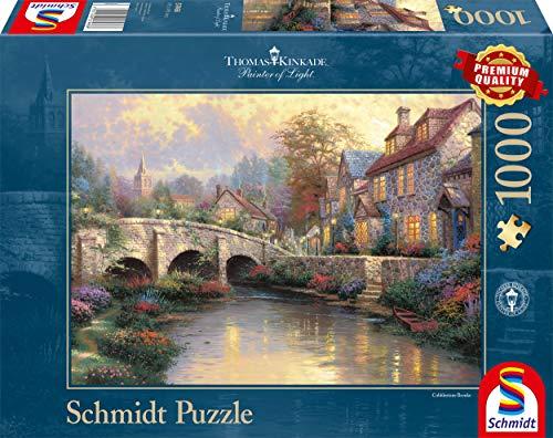 Schmidt Spiele 57466 Thomas Kinkade, Bei der alten Brücke, 1.000 Teile Puzzle
