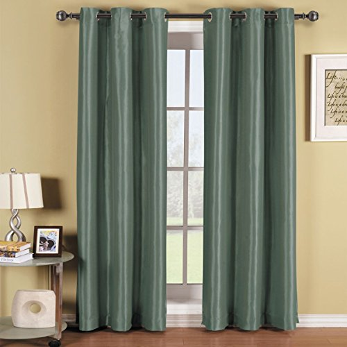 Gorgeous Home *DIFFERENT SOLID COLORS & SIZES* (#72) 1 PANEL SOLID THERMAL FOAM LINED BLACKOUT HEAVY THICK WINDOW CURTAIN DRAPES BRONZE GROMMETS (SILVER BLUE, 95' LENGTH)