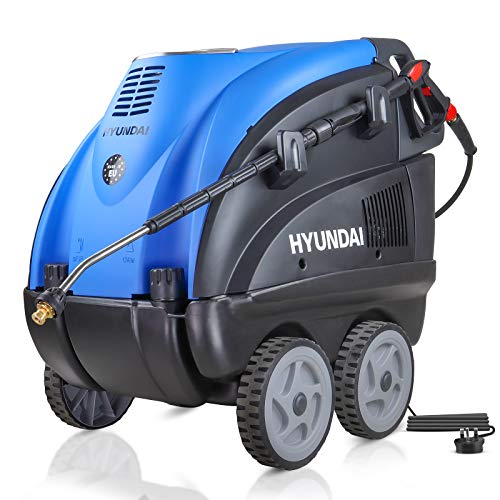 Hyundai 2170 PSI Hot Water Pressure Washer, 2.8kW, Electric Single Phase Motor, Power Washer, Portable Pressure Washer, 1 Year Warranty, 140°c Water Temperature, 3 Axial Cylinder Pump, Diesel, Blue
