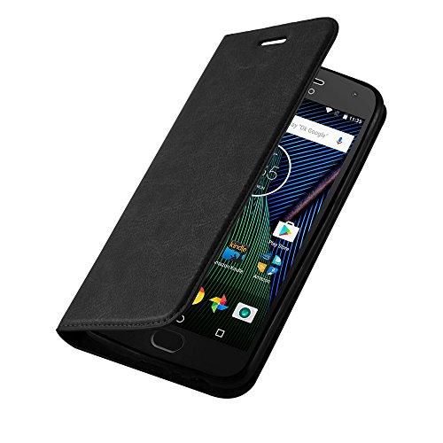 Cadorabo Hülle für Motorola Moto G5 - Hülle in Nacht SCHWARZ – Handyhülle mit Magnetverschluss, Standfunktion und Kartenfach - Case Cover Schutzhülle Etui Tasche Book Klapp Style
