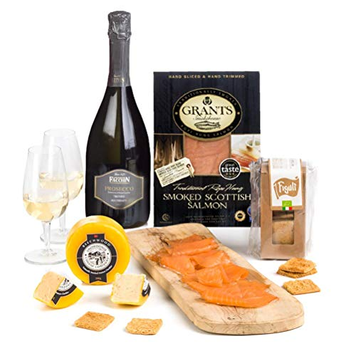 Hay Hampers Prosecco, Smoked Salmon & Smoked Cheese Hamper Gift Box - FREE UK Delivery