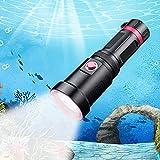 Linterna de Buceo LED Recargable IP68 Impermeable Potente Profesional 3000 Lúmenes Luces Sumergibles 3 Modos de Luz 100 Metros Linterna Submarina 1x 26650 Batería para Emergencia Senderismo Viaje