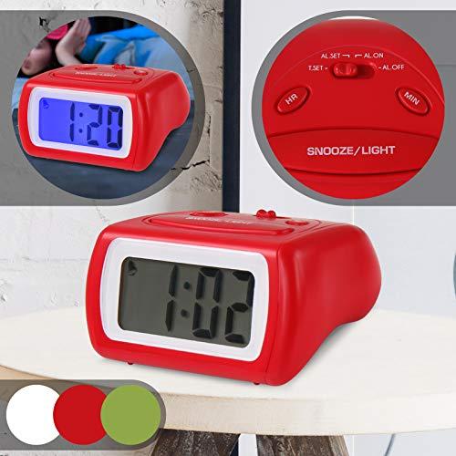 Jago Wecker - Farbwahl, mit Anschwellendem Alarmton, Schlummertaste, Displaybeleuchtung - Digitaler Wecker, Digitalwecker, Reisewecker, Tischuhr für den Nachttisch (Rot)