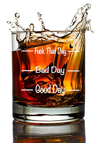MugBros Funny Whiskey Glass Good Day Bad Day F That Day Old Fashioned Scotch Whiskey Wine Glass Novelty Gift