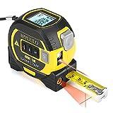 HOLULO Mètre Laser Numérique 3 in 1 avec ligne laser croisée, 131Ft Télémètre Laser Numérique, 16Ft Mètre à Ruban avec Rétroéclairage LCD pour Distance, zone, Le volume