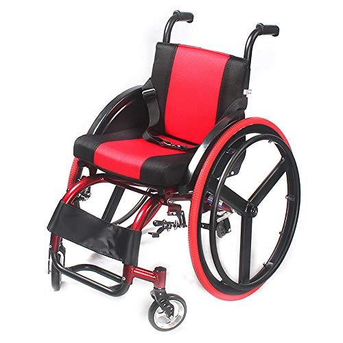 YZJJ Rollstuhl, Faltrollstuhl, Aluminium, Transportrollstühle, Rollstühle mit Selbstantrieb, tragbar Klappbares, Express ultraleichter Faltbarer Rollstuhl mit hohen, Sitzbreite 38cm