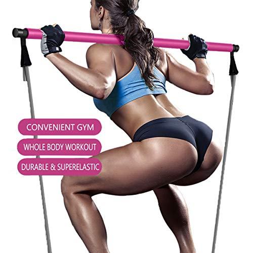 Harkkey Yoga Pilates Bar Kit Portable Exercise Resistance Band Stick Muscle Toning Bar Home Fitness Gym Stretch Sit-Up with Foot Loop for Total Body Workout (Pink)