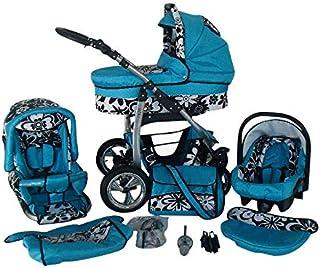 Passeggino Trio 3in1 2in1 Isofix Ovetto Compatto D-Deluxe by SaintBaby azzurro & fiori neri 3in1 con Ovetto