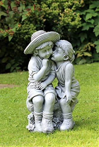 HH Home Hut Garden Ornament Boy & Girl Loving Kissing Cherub Statue Decor Beige Large