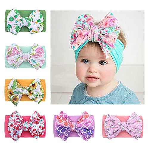 Baby Girl Bows Headbands - Infant Pom Pom Hair Bows Nylon Headband for Toddler Girls Kids Handmade Newborn Hair Accessories - Pack of 6
