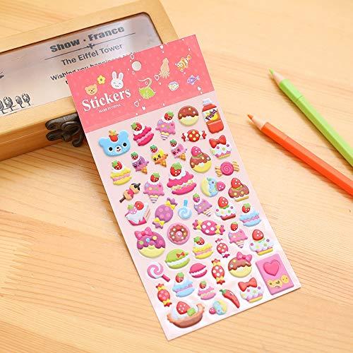 Hmg 2 PCS Cakes Pattern Creative Cartoon Children DIY Album Diary Decorativo Stereo Bubble Sticker