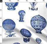 Luftballons, Altmodisch, Kinderzimmer, Blau Und Weiß, Blau