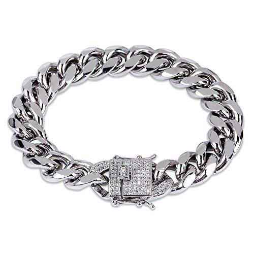 MKHDD 18K goud vergulde Cubaanse ketting armband met lab diamant gesp hiphop armband
