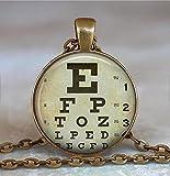 Collar con tabla de ojos, collar optometrista oftalmólogo, regalo óptico, colgante optom...