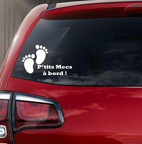 Sticker autocollant bébé à bord petit pied bébé p'tits mecs à bord ! de Kdosublim